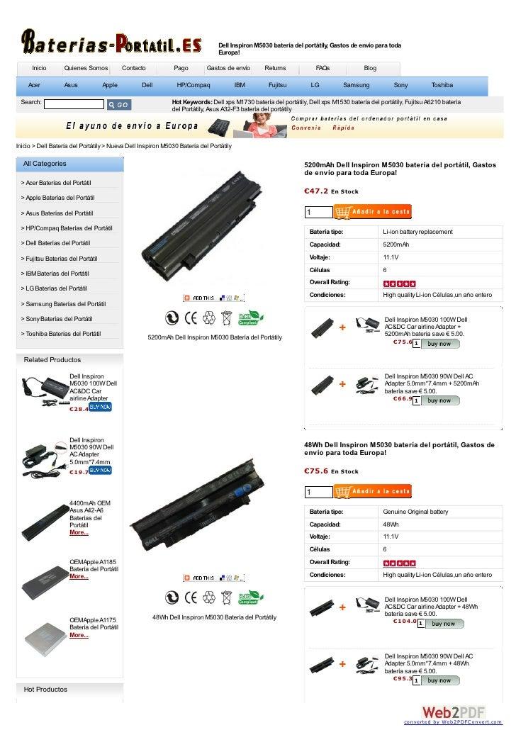 Dell Inspiron M5030 batería del portátily, Gastos de envío para toda                                                      ...