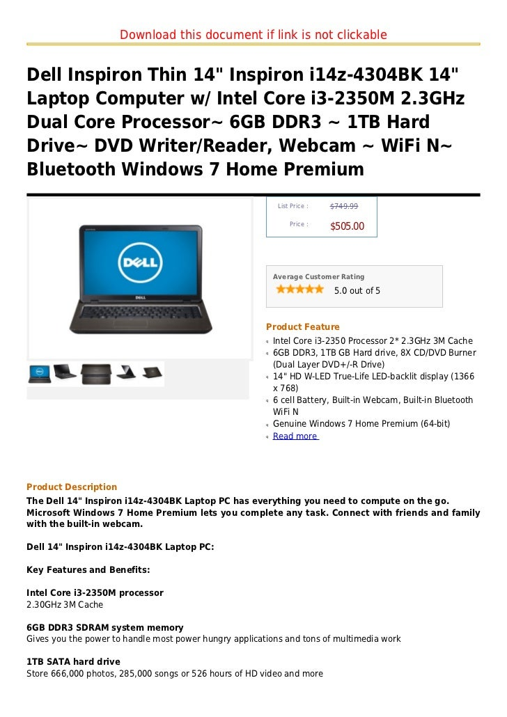 """Download this document if link is not clickableDell Inspiron Thin 14"""" Inspiron i14z-4304BK 14""""Laptop Computer w/ Intel Cor..."""