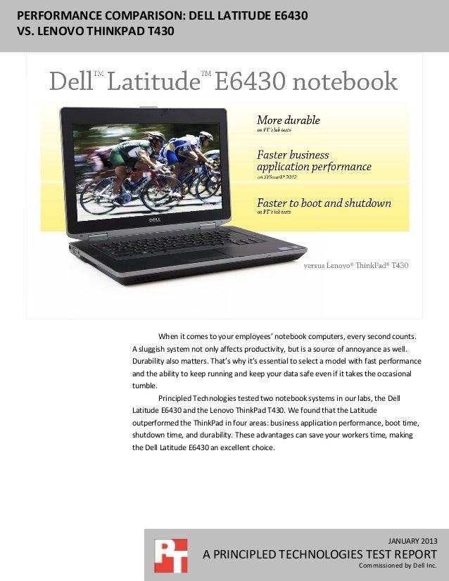 Performance comparison: Dell Latitude E6430 vs  Lenovo