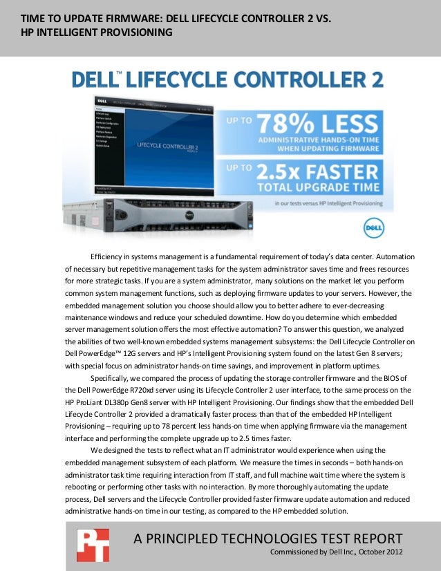 Time to update firmware: Dell Lifecycle Controller vs  HP
