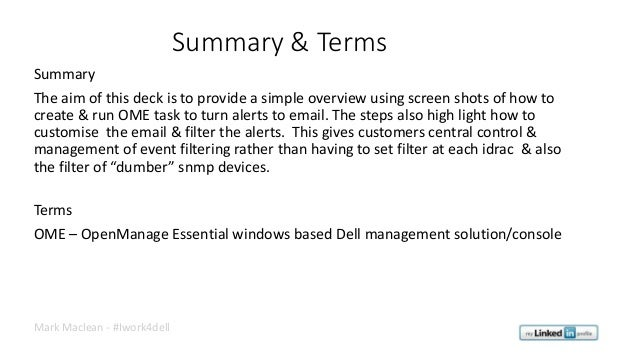 Dell OpenManage Essential (OME) - Configuring Alert To Email  Slide 2