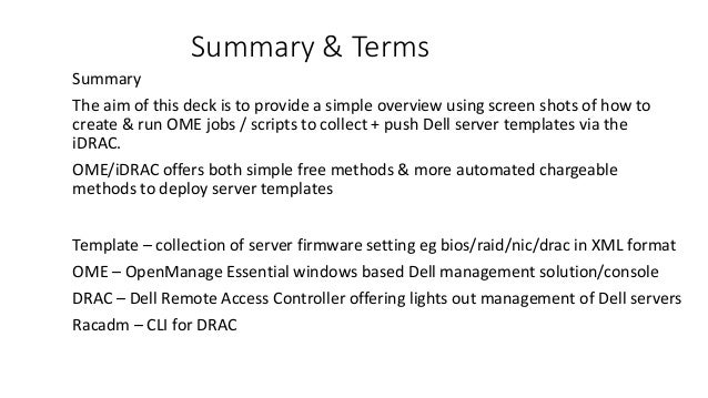 Dell ome server templete delopy no cost methods