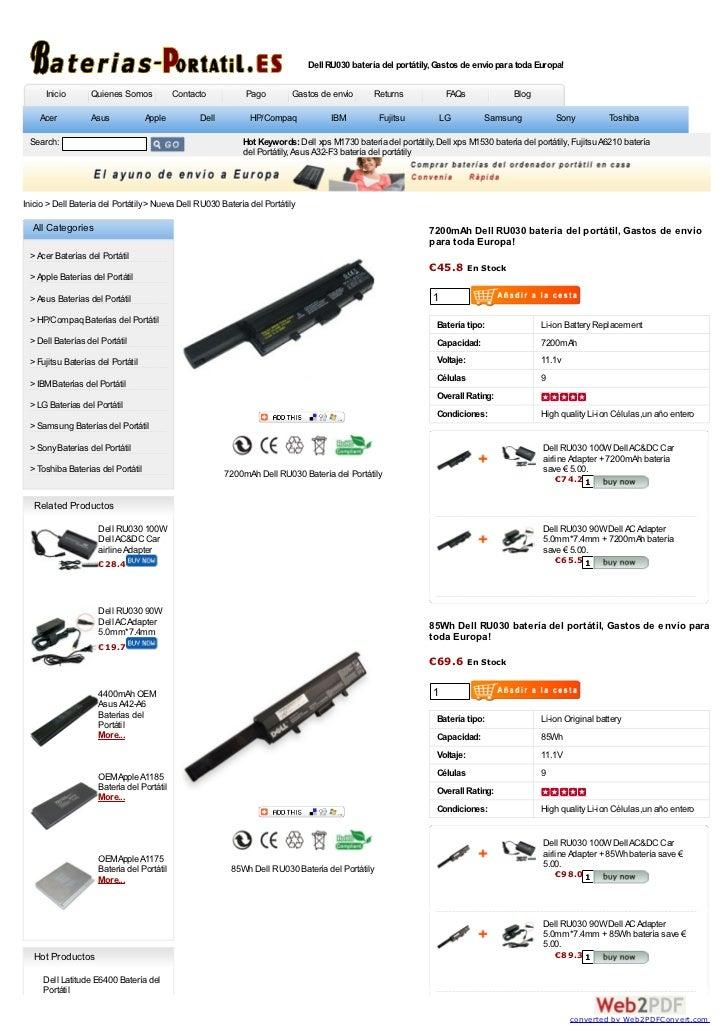 Dell RU030 batería del portátily, Gastos de envío para toda Europa!      Inicio      Quienes Somos             Contacto   ...