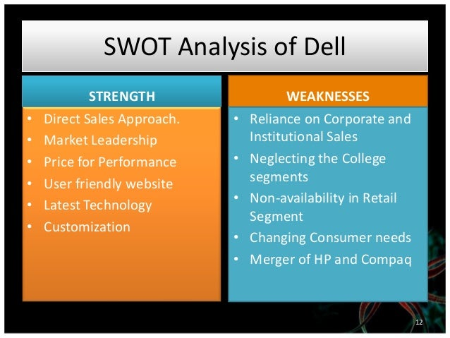 swot analysis of dell computers Swot analysis of dell computers) for home users, dell's direct method and customization approach posed problems for one, customers cannot go.