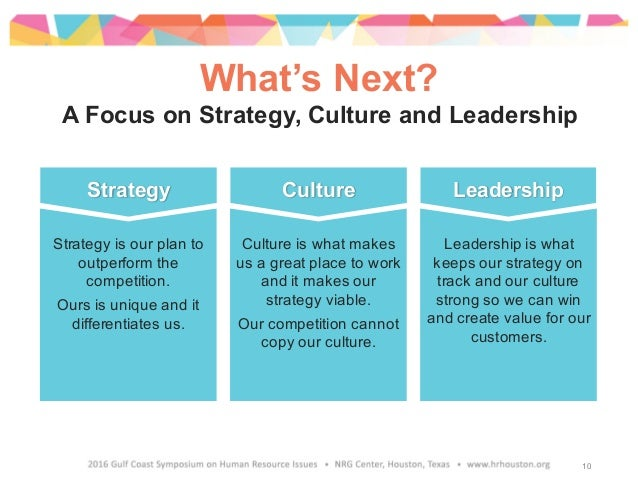 What's Next? A Focus on Strategy, Culture and Leadership Strategy Culture Leadership Leadership is what keeps our strategy...
