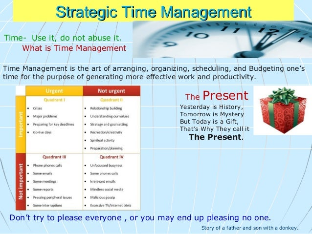 Principles of Time Management 1. Determine what is urgent and important We're all faced with a lot of different tasks that...