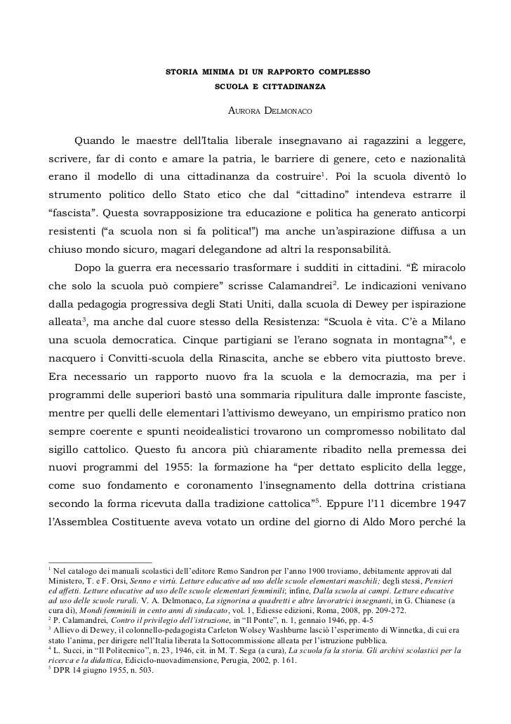 STORIA MINIMA DI UN RAPPORTO COMPLESSO                                                   SCUOLA E CITTADINANZA            ...