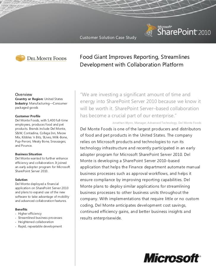 Customer Solution Case Study                                           Food Giant Improves Reporting, Streamlines         ...