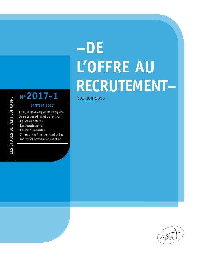 LESÉTUDESDEL'EMPLOICADRE Analyse de 4 vagues de l'enquête de suivi des offres et de tension - Les candidatures - Les recru...