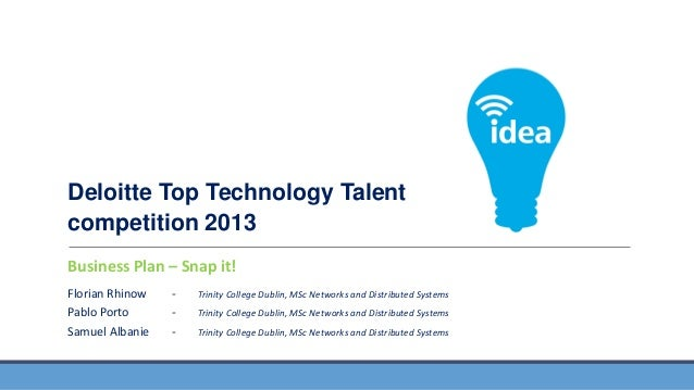 Deloitte Top Technology Talent competition 2013 FEATURES Snap BUSINESS APPLICATIONS Business Plan –AND it! Florian Rhinow ...