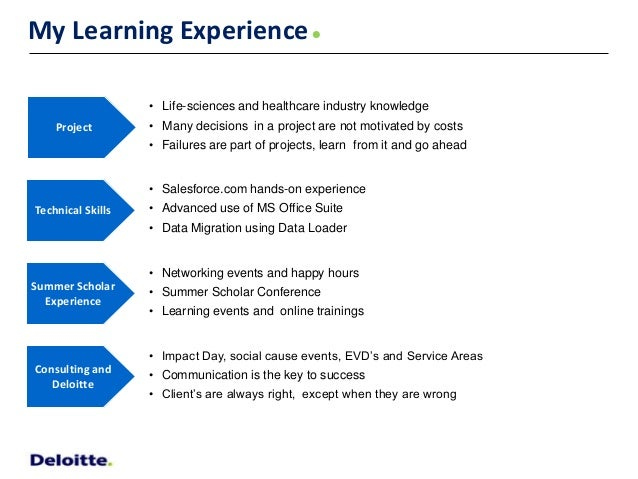 internship learning experience Originally answered: what can you learn from an internship  pays well, then chances are it will be more demanding and offer better learning experiences.