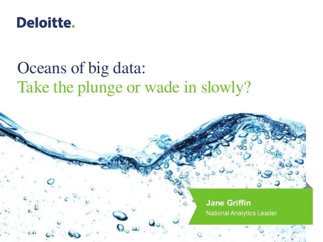 Oceans of big data:Take the plunge or wade in slowly?Jane GriffinNational Analytics Leader