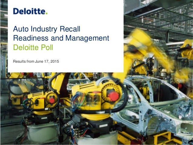 Auto Industry Recall Readiness and Management Deloitte Poll Results from June 17, 2015
