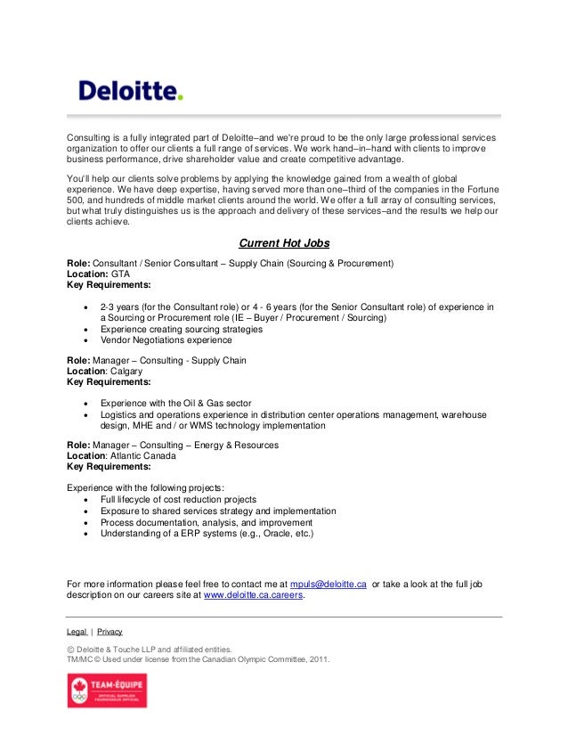 Consulting Is A Fully Integrated Part Of Deloitteu2013and Were Proud To Be The  Only