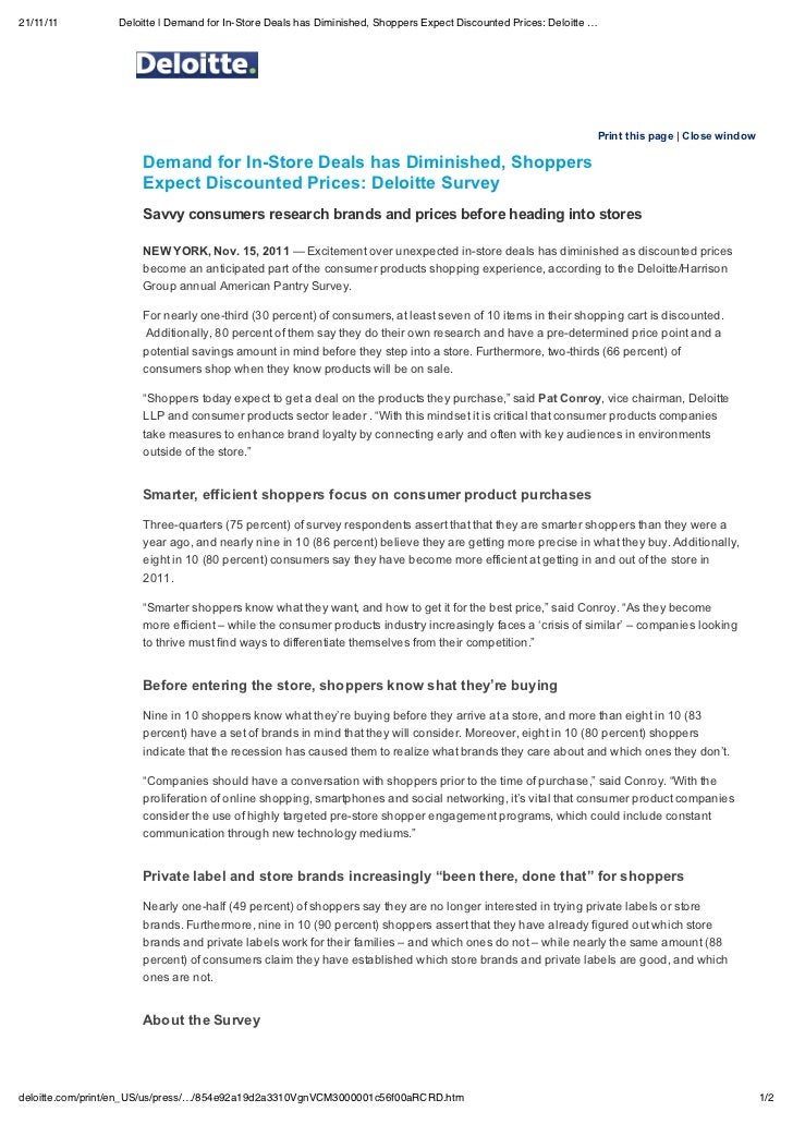 21/11/11          Deloitte | Demand for In-Store Deals has Diminished, Shoppers Expect Discounted Prices: Deloitte …      ...