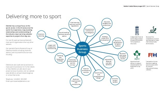 Delivering more to sport Deloitte has a unique focus on the sports sector, in the UK and across the world. Our experience,...