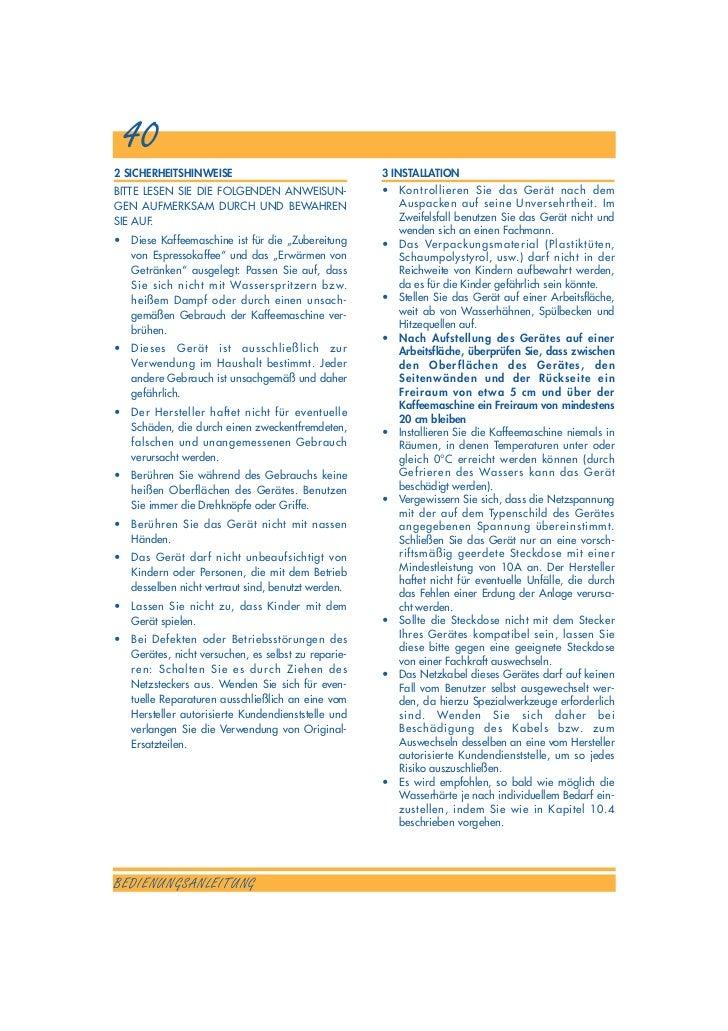 Delonghi ESAM 3000 B Bedienungsanleitung -> Kaffeemaschine Delonghi Entkalken