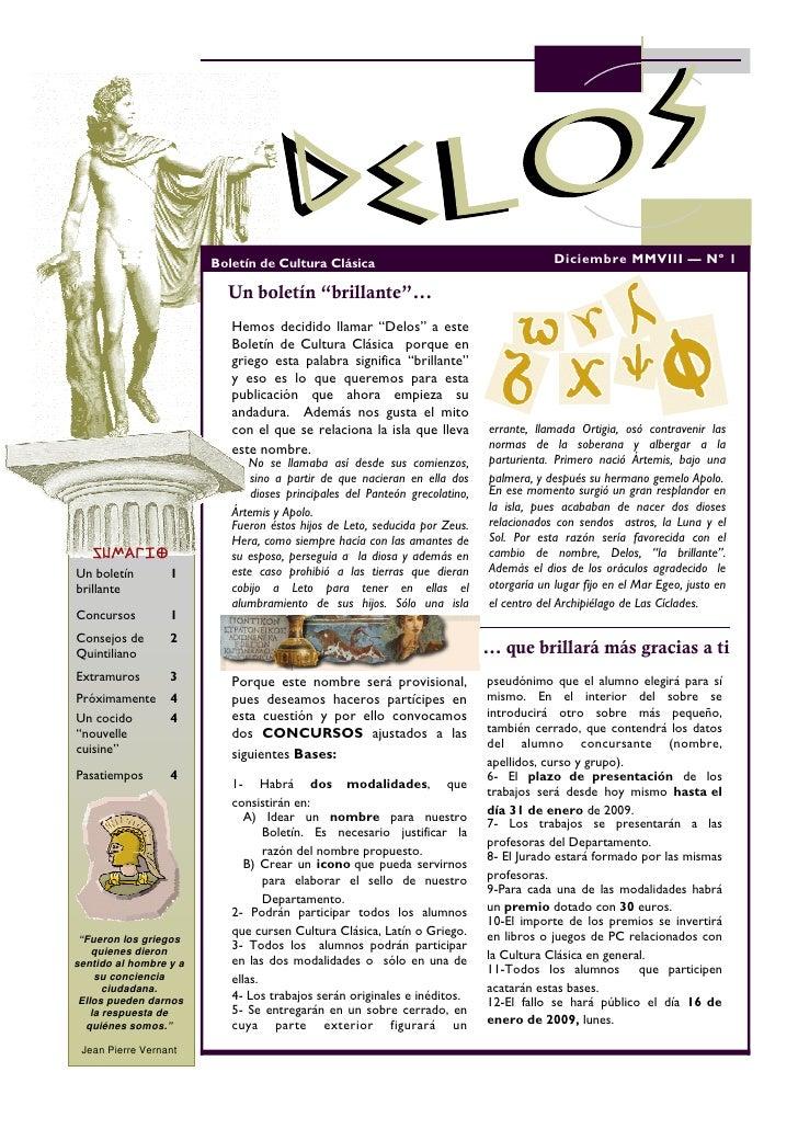 Boletín de Cultura Clásica                                        Diciembre MMVIII — Nº 1                            Un bo...