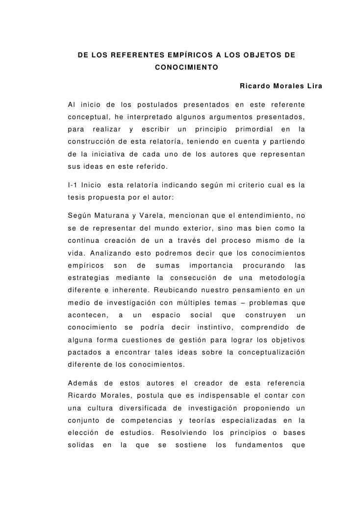 DE LOS REFERENTES EMPÍRICOS A LOS OBJETOS DE                                    CONOCIMIENTO                              ...