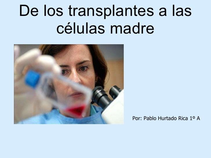 De los transplantes a las células madre Por: Pablo Hurtado Rica 1º A