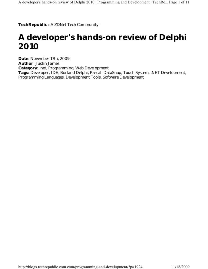 A developer's hands-on review of Delphi 2010 | Programming and Development | TechRe... Page 1 of 11     TechRepublic : A Z...