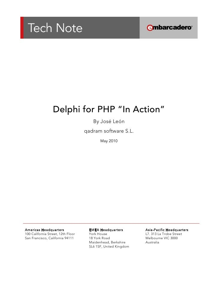 "Delphi for PHP ""In Action""                                          ..."
