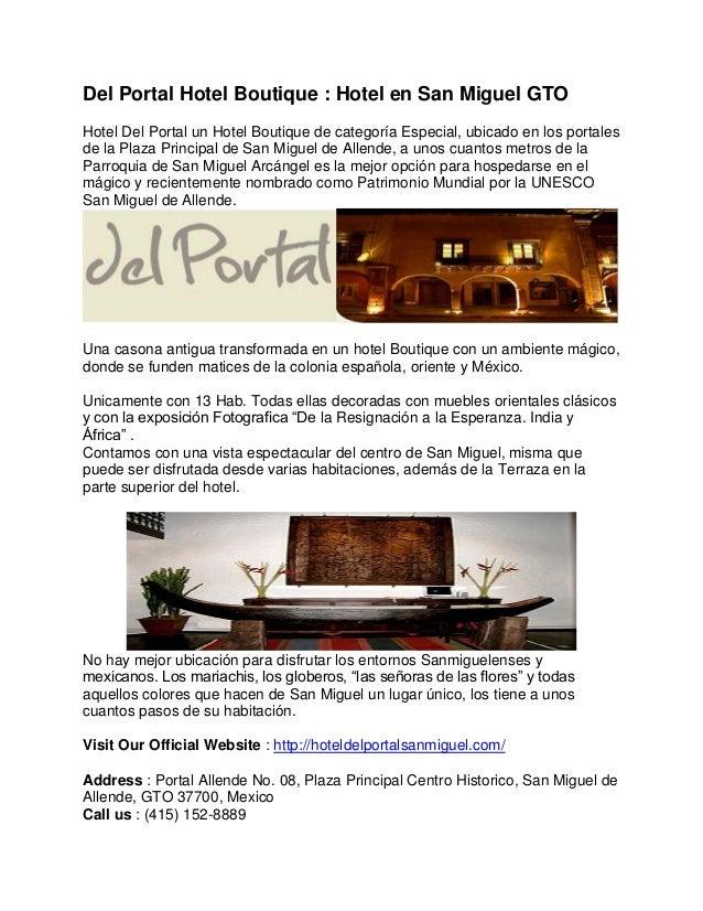 Del Portal Hotel Boutique Hotel En San Miguel Gto