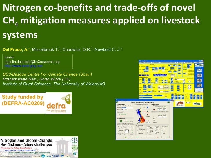 Nitrogen co-benefits and trade-offs of novelCH4 mitigation measures applied on livestocksystemsDel Prado, A.1; Misselbrook...