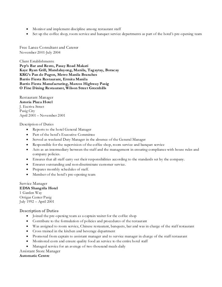 restaurant staff 3 - Coffee Shop Resume Sample