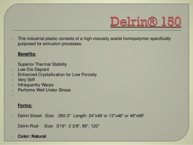 Delrin 150 Data Sheet And Properties