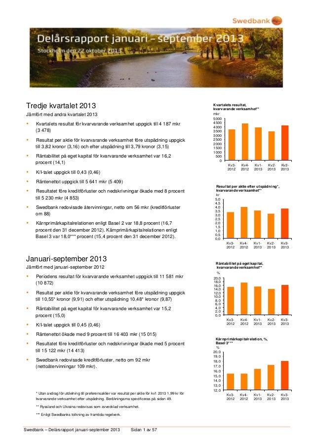 Tredje kvartalet 2013 Jämfört med andra kvartalet 2013    Kvartalets resultat för kvarvarande verksamhet uppgick till 4 1...