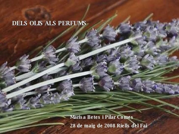DELS OLIS ALS PERFUMS Marisa Betes i Pilar Comes 28 de maig de 2008 Riells del Fai