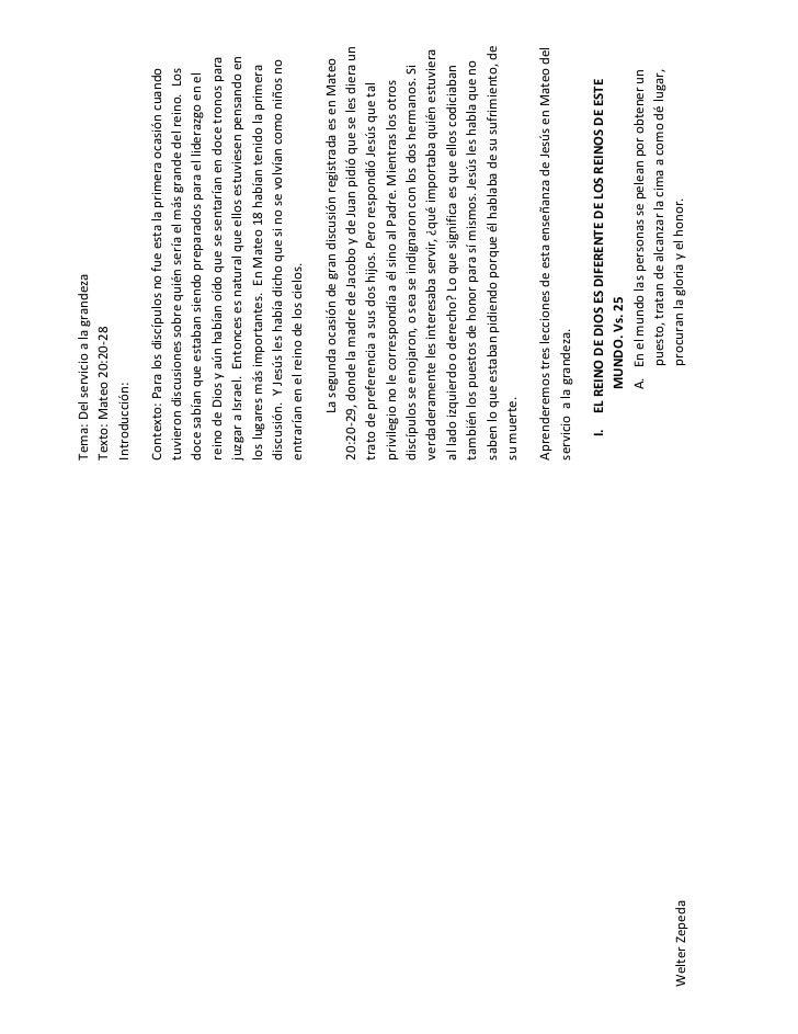 Tema: Del servicio a la grandeza                Texto: Mateo 20:20-28                Introducción:                Contexto...