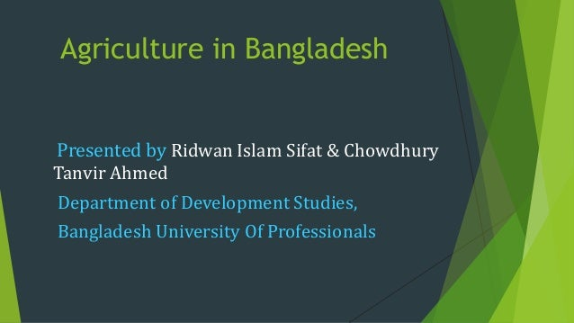 Agriculture in Bangladesh Presented by Ridwan Islam Sifat & Chowdhury Tanvir Ahmed Department of Development Studies, Bang...