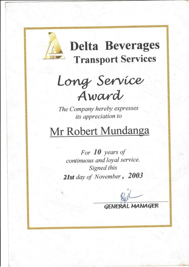 delta beverages certificate of service