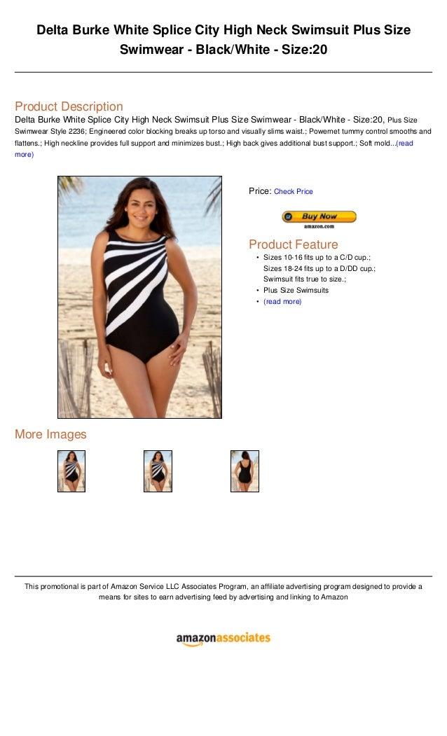 2d5f7bf612be3 Delta burke white splice city high neck swimsuit plus size swimwear black  white - size20