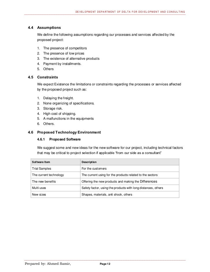 DEVELOPM ENT DEPARTMENT OF DELT A F OR DEVELOPMENT AND CONSULTING 4.4   Assumptions       We define the following assumpti...