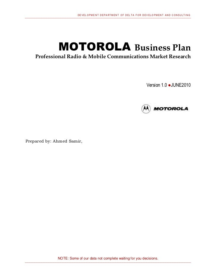 DEVELOPM ENT DEPARTMENT OF DELT A FOR DEVELOPMENT AND CONSULTING              MOTOROLA                                    ...