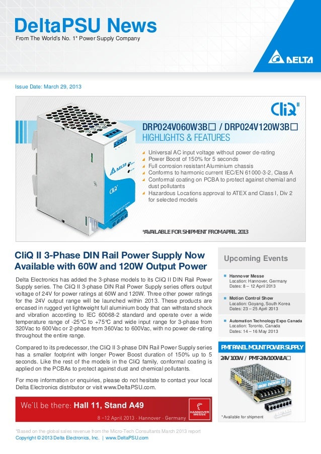 DeltaPSU NewsFrom The World's No. 1* Power Supply CompanyIssue Date: March 29, 2013                                       ...