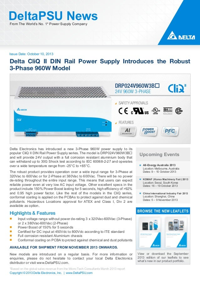 Issue Date: October 10, 2013 DeltaPSU NewsFrom The World's No. 1* Power Supply Company Copyright © 2013 Delta Electronics,...