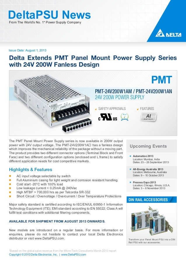 Issue Date: August 1, 2013 DeltaPSU NewsFrom The World's No. 1* Power Supply Company Copyright © 2013 Delta Electronics, I...