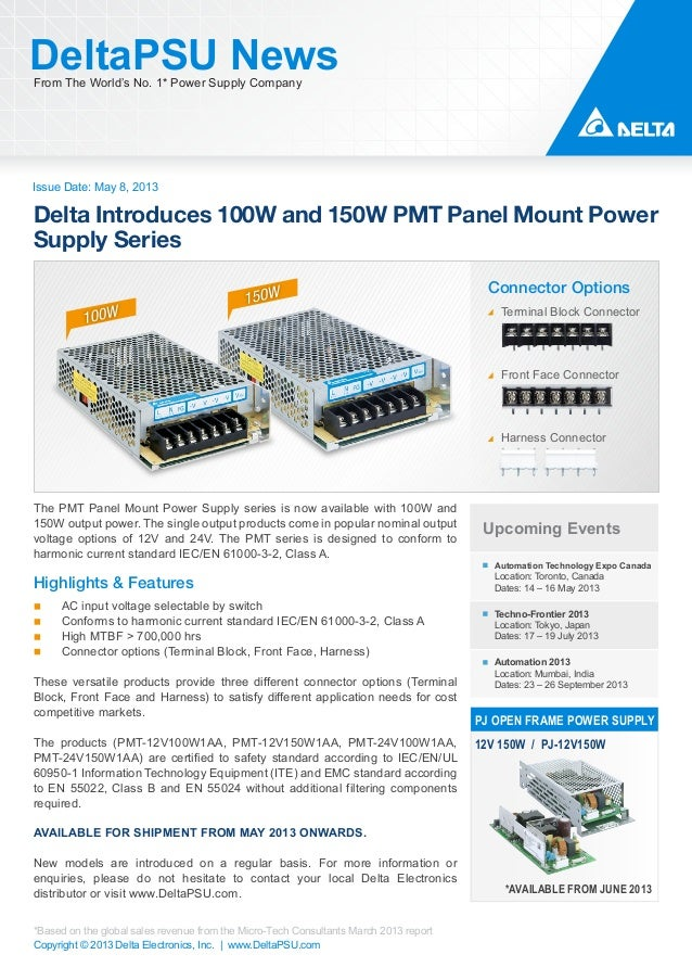Issue Date: May 8, 2013DeltaPSU NewsFrom The World's No. 1* Power Supply CompanyCopyright © 2013 Delta Electronics, Inc. |...