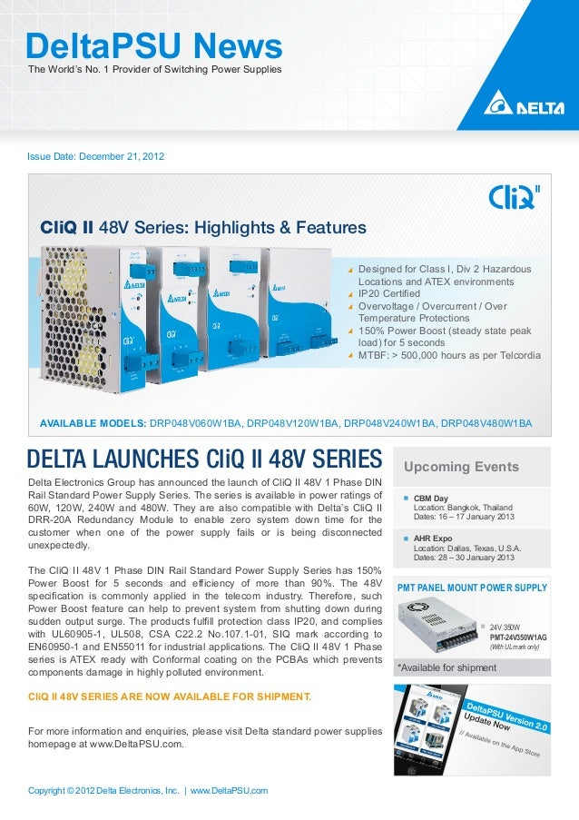 DeltaPSU NewsThe World's No. 1 Provider of Switching Power SuppliesIssue Date: December 21, 2012   CliQ II 48V Series: Hig...