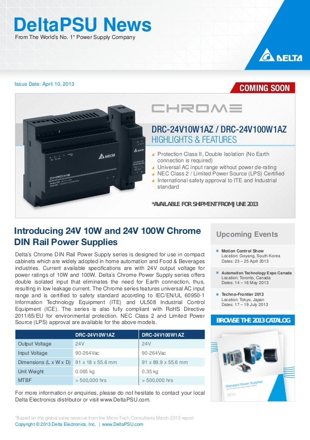 Issue Date: April 10, 2013DeltaPSU NewsFrom The World's No. 1* Power Supply CompanyCopyright © 2013 Delta Electronics, Inc...