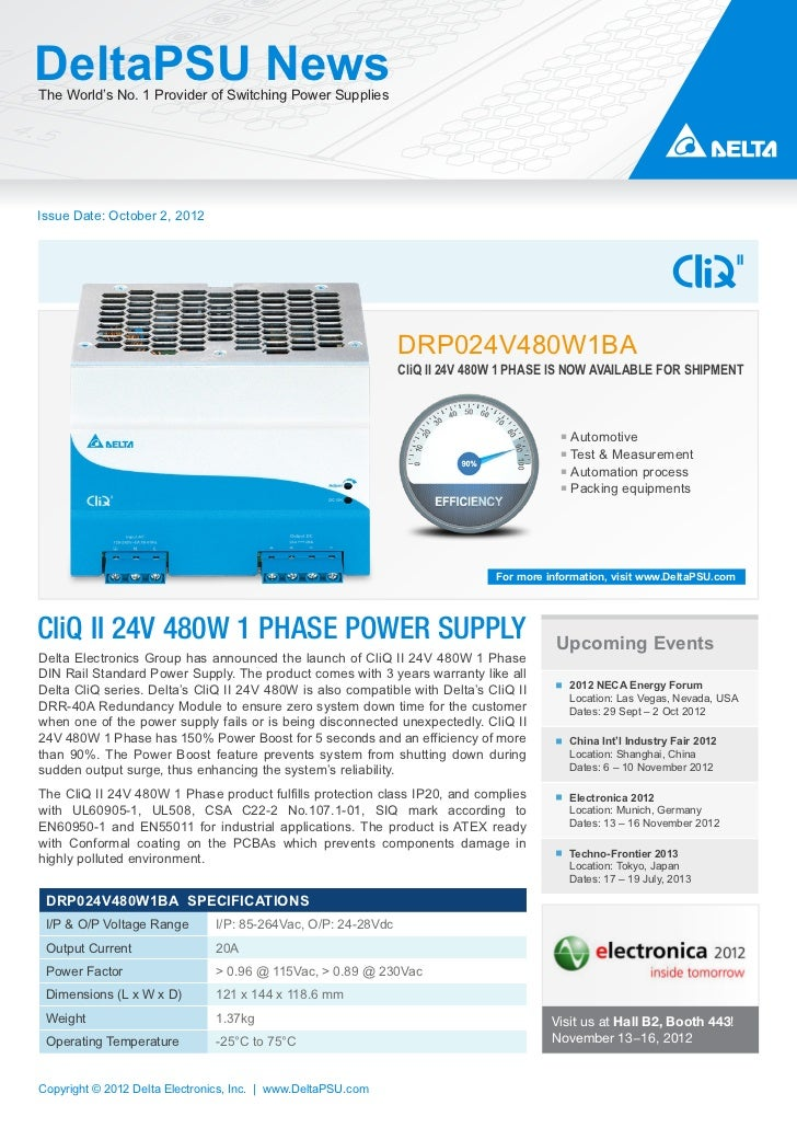 DeltaPSU NewsThe World's No. 1 Provider of Switching Power SuppliesIssue Date: October 2, 2012                            ...