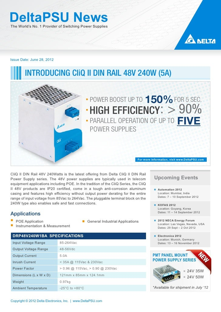 DeltaPSU NewsThe World's No. 1 Provider of Switching Power SuppliesIssue Date: June 28, 2012          INTRODUCING CliQ II ...