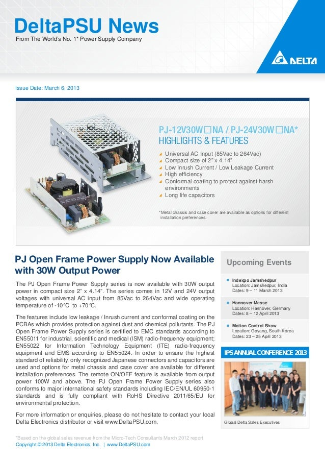 DeltaPSU NewsFrom The World's No. 1* Power Supply CompanyIssue Date: March 6, 2013                                        ...