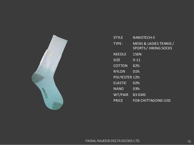 STYLE NANOTECH-5TYPE: MENS & LADIES TENNIS /SPORTS / HIKING SOCKSNEEDLE 156NSIZE 9-11COTTON 82%NYLON 01%POLYESTER 12%ELAST...