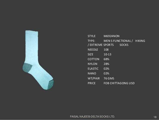 STYLE M6924NONTYPE: MEN S FUNCTIONAL / HIKING/ EXTREME SPORTS SOCKSNEEDLE 108SIZE 10-13COTTON 68%NYLON 28%ELASTIC 02%NANO ...