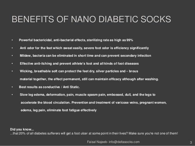 BENEFITS OF NANO DIABETIC SOCKS• Powerful bactericidal, anti-bacterial effects, sterilizing rate as high as 99%• Anti odor...